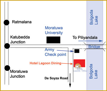 Map of hotel lagoon dining - Moratuwa Sri Lanka